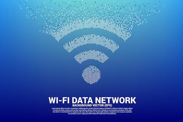 Печать значка сети мобильной сети wi-fi polygon из пикселя. Premium векторы