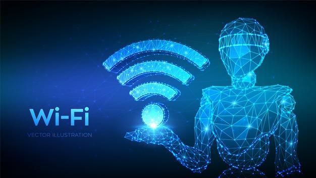 Wi-fi。 wifiアイコンを保持している抽象的な3 d低ポリゴンロボット。 Premiumベクター