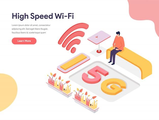 Высокоскоростной wi-fi иллюстрация концепция Premium векторы
