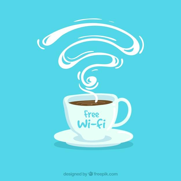 Голубой фон кафе с бесплатным wi-fi Бесплатные векторы