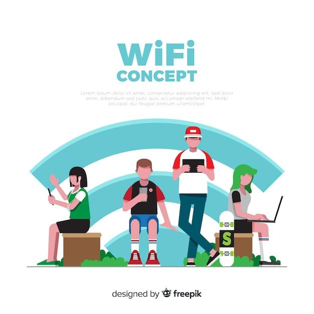 Плоские люди с wi-fi подписать фон Бесплатные векторы