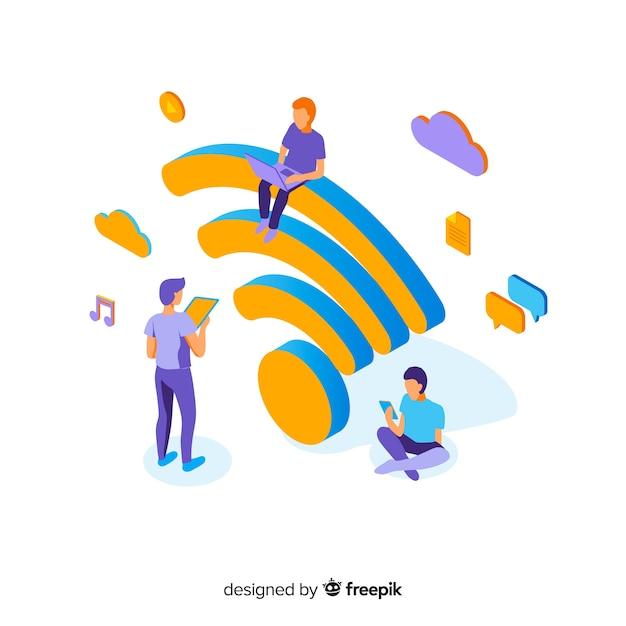 Плоский дизайн концепции сети wi-fi Бесплатные векторы