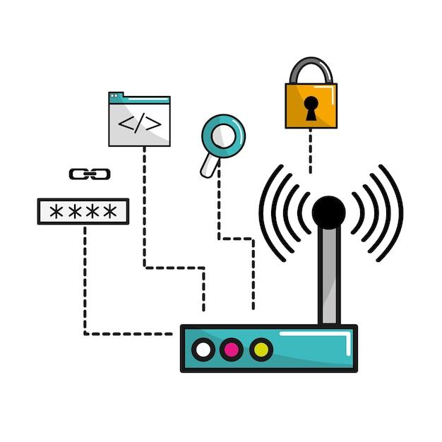 Wi-fiルーター接続データ情報 Premiumベクター
