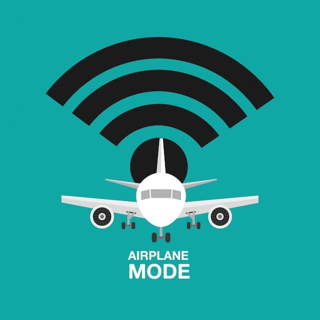 Дизайн самолета, wi-fi выключен Бесплатные векторы