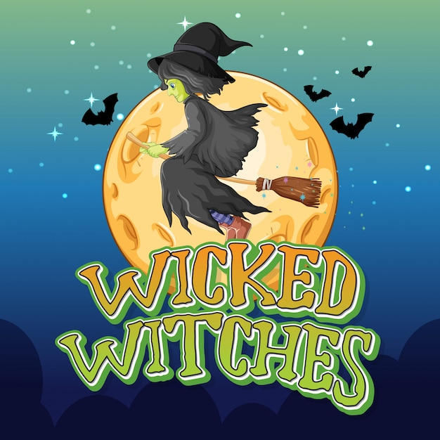 Wicked witches on night background Free Vector