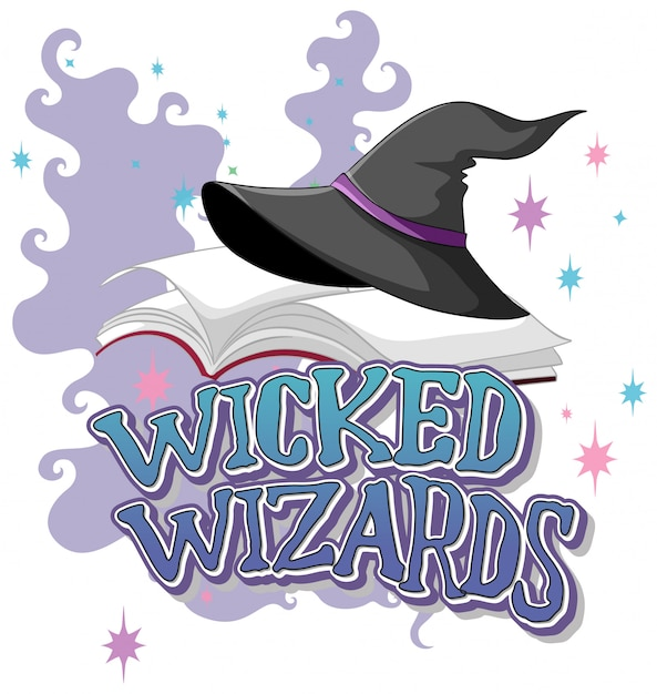 Wicked wizards logo on white background Free Vector