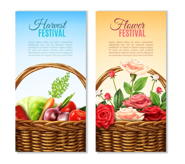 Wicker  basket  2 vertical banners set Free Vector