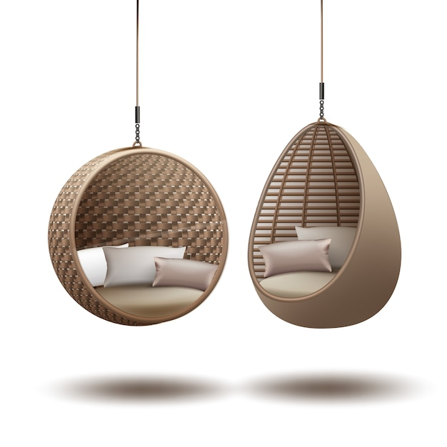 Wicker hanging chairs swing hanging on a chain with cushions Free Vector