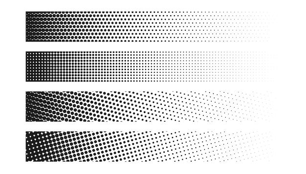 Набор из четырех широких полутоновых баннеров Бесплатные векторы