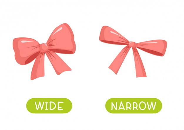 Wide and narrow. vector antonyms and opposites Premium Vector
