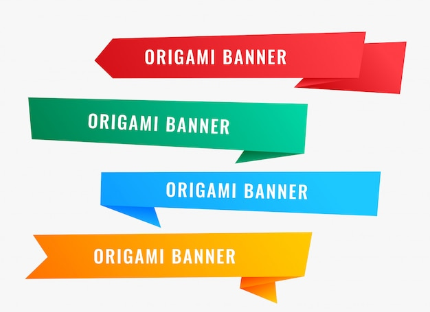Wide origami banners in ribbon style Free Vector