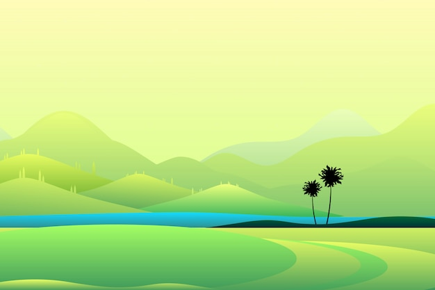 Wide summer mountain view green mountain and sky landscape Premium Vector