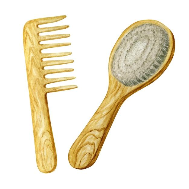ヘアブラッシングヘアケアアクセサリー用の幅広の木製コーム。 Premiumベクター