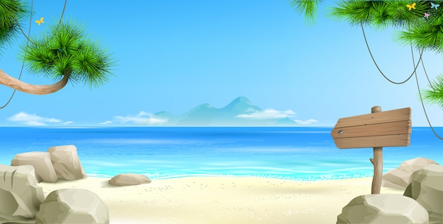 Wide tropical beach background Premium Vector