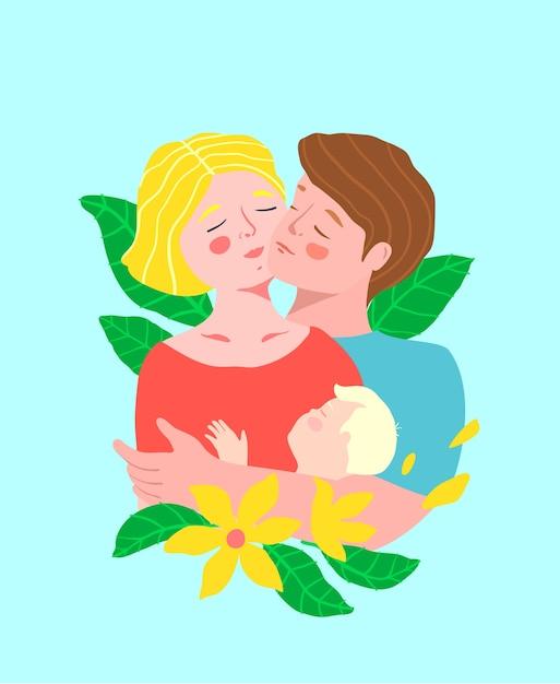 Жена и муж или романтическая молодая пара, держащая друг друга и ребенка, обнимая щеку к щеке с красочными цветами. Premium векторы