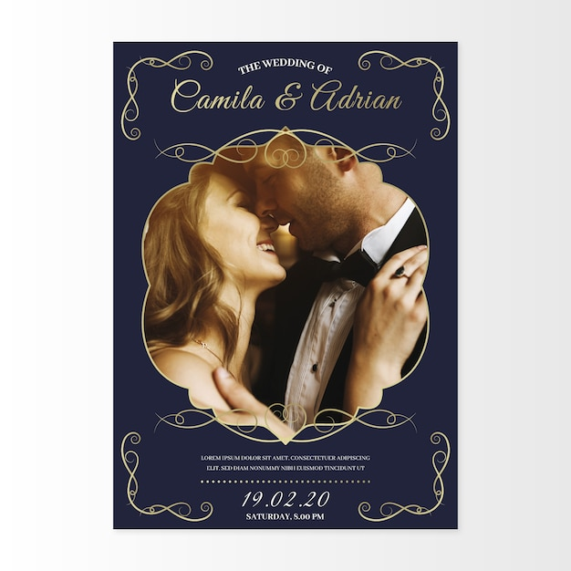 Wife and broom kissing invitation wedding template Free Vector