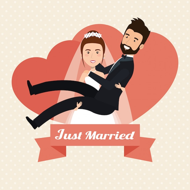 Wife lifting housband married characters Free Vector