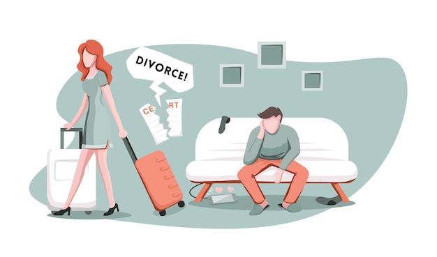 スーツケースを持った妻が夫から離れて歩いている Premiumベクター