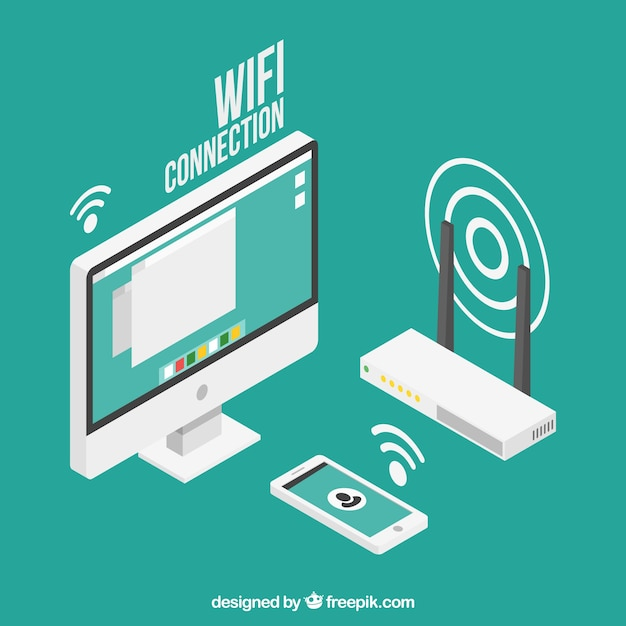 Wifi background design Free Vector