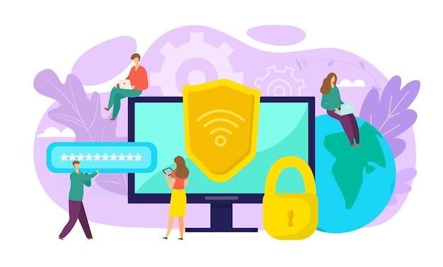 Wifiセキュリティの概念、オンラインの安全性、データ保護、安全な接続の図。暗号化、ウイルス対策、ファイアウォール、または安全なクラウドファイル交換。コンピューターのwi-fiはデータ交換を暗号化します。 Premiumベクター