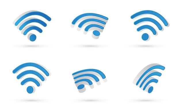 Wifiシンボル。 3dベクトル。モダンなスタイルとグラデーションカラー。さまざまなビューが浮かんでいます。 Premiumベクター