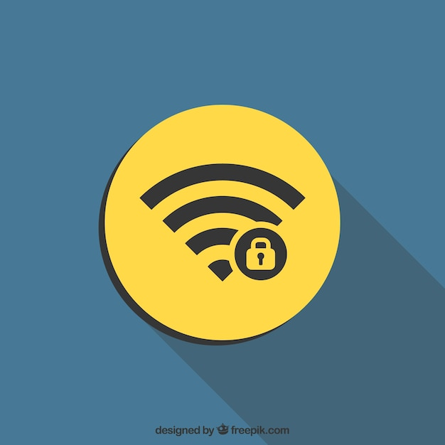 Wifi symbol background in flat design with a padlock Free Vector