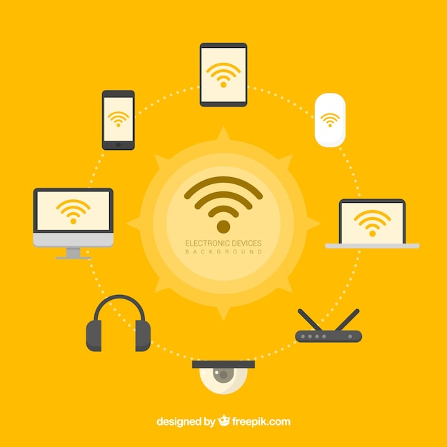 Wifi and technology backgroud Free Vector