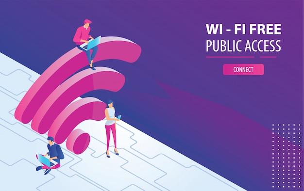 無料のwifiホットスポットで大きなwifiサインの上に座ってラップトップに取り組んで等尺性人 Premiumベクター