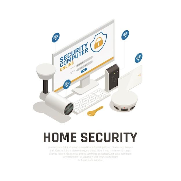 ビデオ監視システムとwifiサービスによってオンラインで動作する火災警報器を備えたホームセキュリティテンプレート 無料ベクター