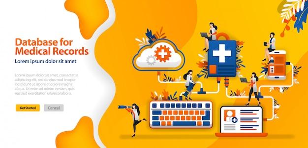 医療記録およびwifi、スマートフォン、ラップトップに接続された病院通信システム用のクラウドデータベースを持つランディングページテンプレート Premiumベクター