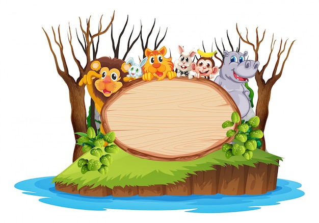 Wild anima on wooden board Free Vector