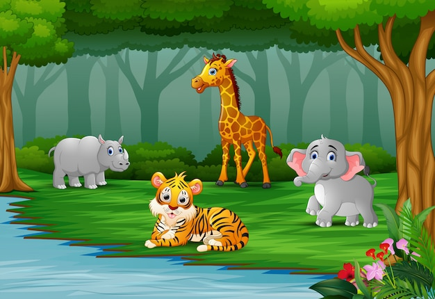 Wild animal are enjoying nature by the river Premium Vector