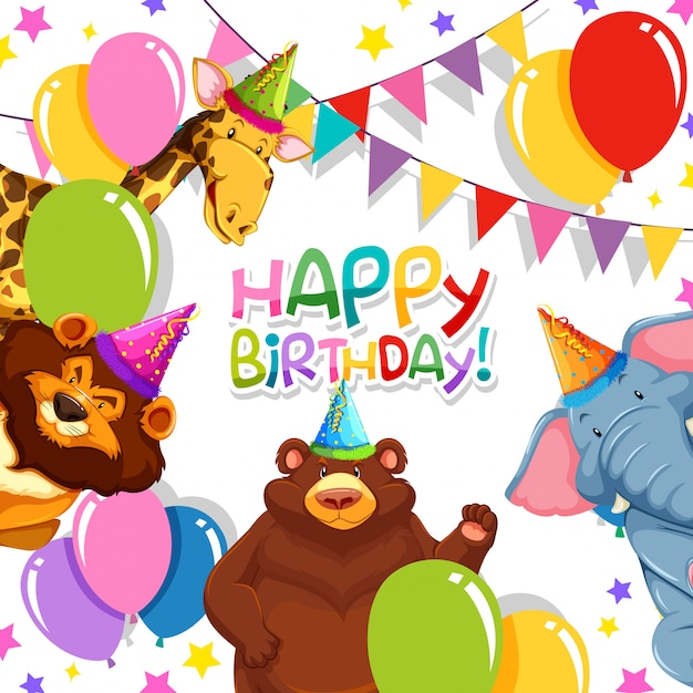 Wild animal in birthday template Free Vector