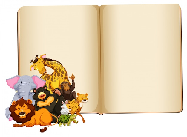 Wild animal on blank book with copyspace Free Vector