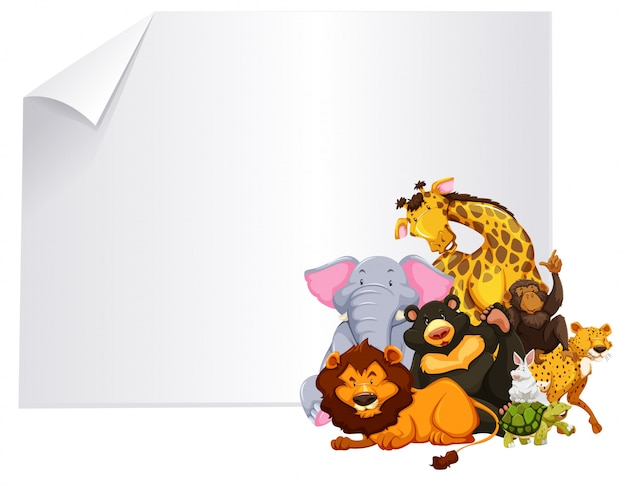 Wild animal on blank template Premium Vector