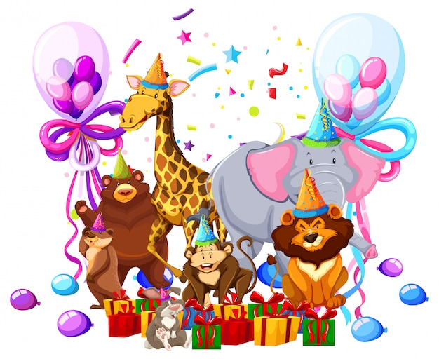 Wild animal celebrate birthday Free Vector