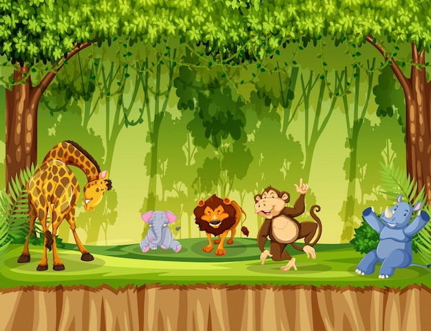 Wild animal in the jungle Free Vector
