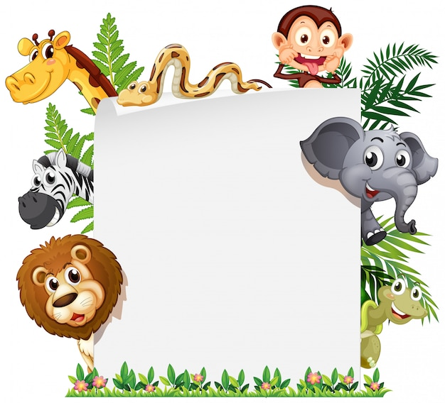 Wild animal on note template Free Vector