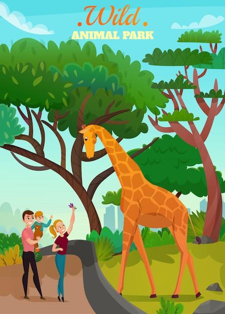 Wild animal park illustration Free Vector