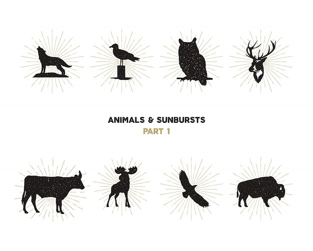 Wild animal shapes set. silhouette animals Premium Vector