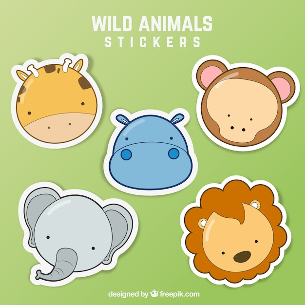 Wild animal stickers Free Vector