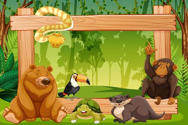 Wild animal on wooden frame Premium Vector