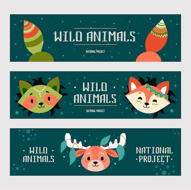 野生動物のバナーセット。フレンドリーな漫画のキツネ、アライグマ、自由奔放に生きるスタイルの装飾が施されたムース 無料ベクター