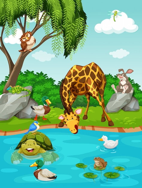 Wild animals by the river Free Vector