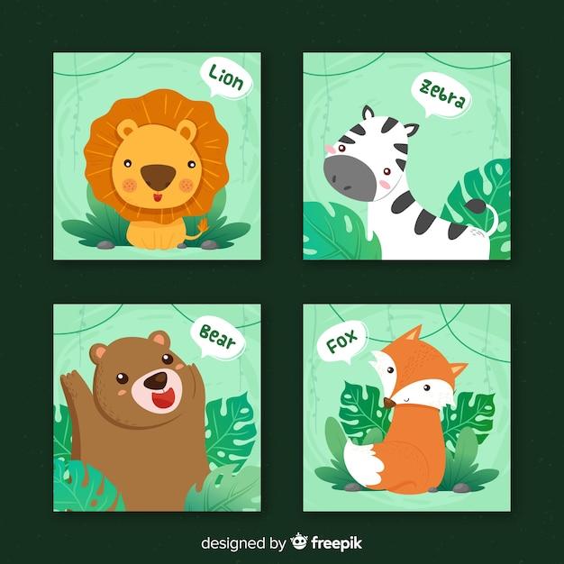 Wild animals card collection, cartoon style Premium Vector