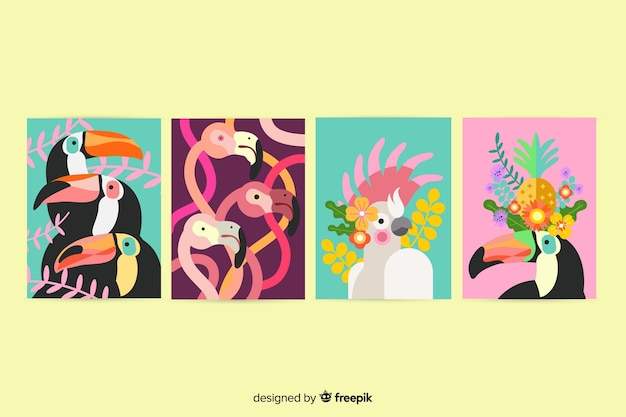 Wild animals card collection, cartoon style Free Vector