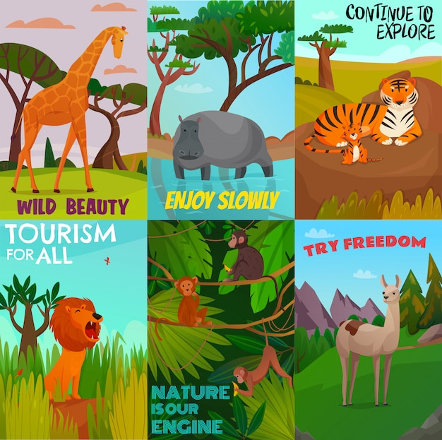 Wild animals cards set Free Vector