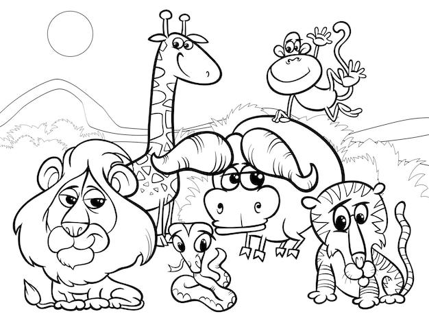 Wild Animals Cartoon Coloring Page Vector Premium Download