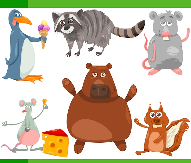 Wild animals cartoon set illustration Premium Vector