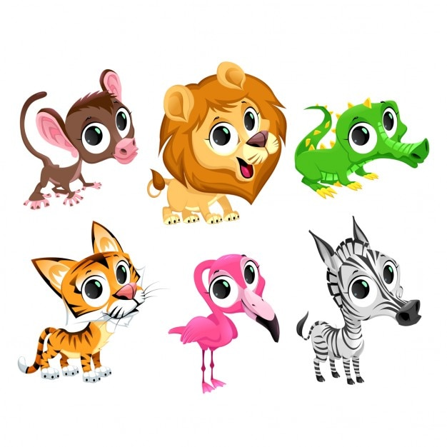 Wild Animals Cartoon Vector Free Download